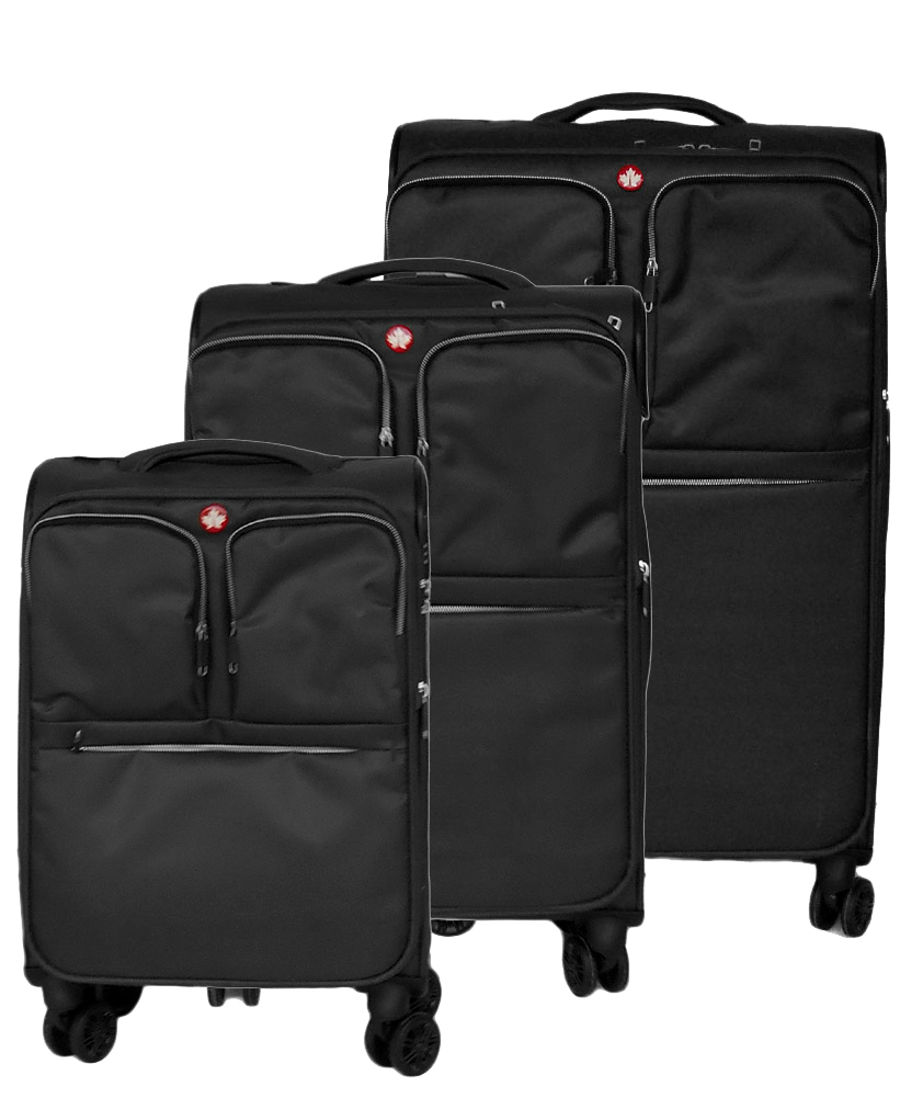 hot-selling top quality wide varieties FLO (MONTREAL) NYLON MATERIAL, LIGHTWEIGHT & EXPANDABLE 3-PIECE SUITCASE SET